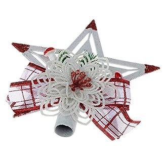 FLAMEER-Glitzer-Weihnachtsbaum-Topper-Christbaumspitze-Stern-Baumschmuck-fr-Innen-Auenraum