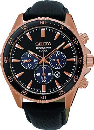 Seiko-Herren-Chronograph-Solar-Uhr-mit-Leder-Armband-SSC448P1