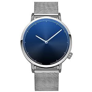 Armbanduhr-Men-Liusdh-Uhren-Einfache-Blue-Ray-Spiegel-schwarz-Edelstahlgewebe-Grtel-Uhr