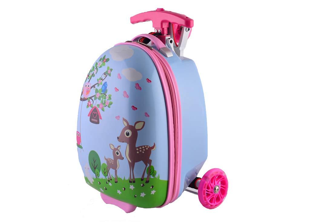 SHINING-KIDS-Kinder-Gepck-Trolley-Scooter-Hard-Shell-Koffer-Schultasche-16-Zoll