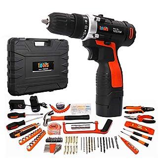 Akku-Bohrschrauber-Vielseitiges-Bohrer-Set-Akkuschrauberset-168V-2-13-Ah-Lithium-BatterienMax-Drehmoment-25-Nm181-Drehmomentstufen-mit-LED-Arbeitslicht