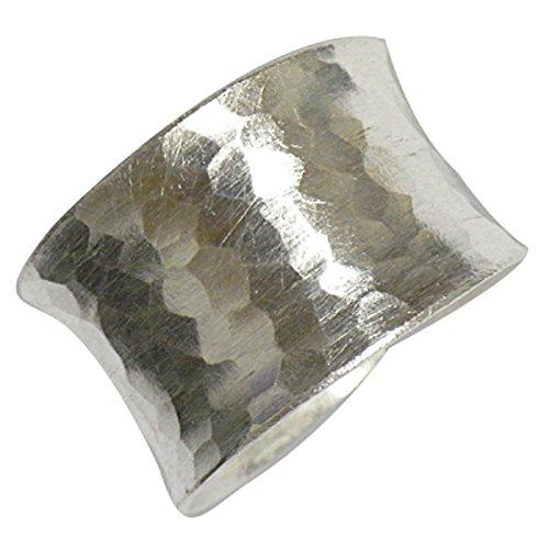 Silberring gehämmert 15mm breit offen verstellbar Ringe 925 Sterling Silber| Damen Herren Silberringe massiv matt glänzend Fingerringe unisex groß ohne Stein Herrenringe Damenringe