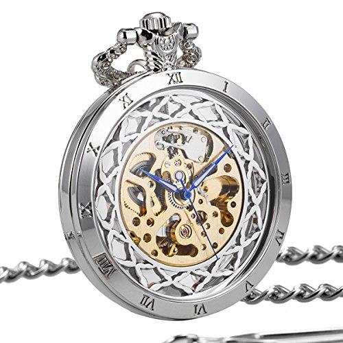 Taschenuhr-offenes-Gesicht-Automatik-Mechanische-Herren-Antik-Silber-Transparent-SIBOSUN-Rmische-Ziffern-mit-Kette-Geschenk-cadeau