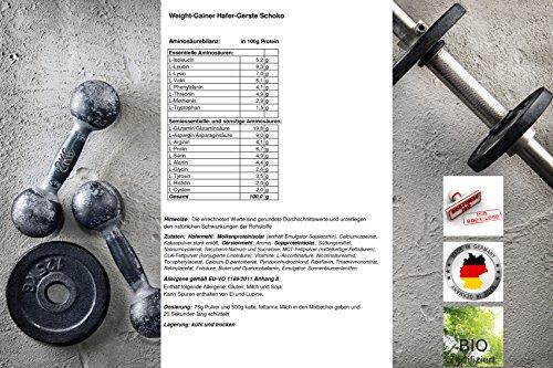 Weight-Gainer Hafer-Gerste Choco Hochdosiertes Pulver   Hochwertige Kohlenhydrate Masseaufbau   In Deutscher Premium Qualität   Vegan   Geschmack Schoko 1500g