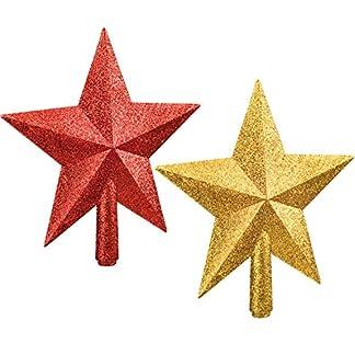 2-Stck-Glitzer-Stern-Weihnachtsbaum-Topper-Weihnachten-Baum-Spitze-Topper-fr-Christbaum-Dekoration