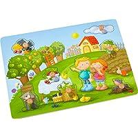 HABA-304430-Greifpuzzle-Obstgarten-8-teiliges-Holzpuzzle-mit-Naturmotiven-und-groen-griffigen-Holzknpfen-Holzspielzeug-ab-12-Monaten
