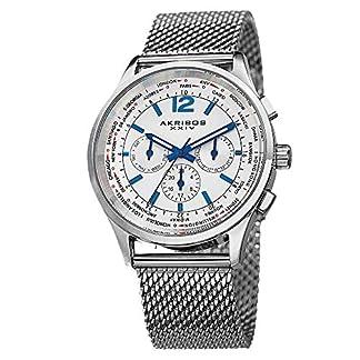 Akribos-XXIV-Herren-Enterprise-Edelstahl-Multifunktions-Uhr-mit-Mesh-Armband