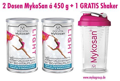 DocVita MykoSan LIGHT • Diät Aktivkost mit VITALPILZEN zum Abnehmen • vegan • Hergestellt in Deutschland • 450 g • 2 x Mykosan LIGHT inklusive GRATIS Shaker