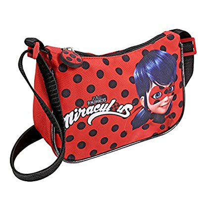Kleiner-Beutel-Miraculous-Ladybug-und-Cat-Noir-fr-Mdchen-Lady-Bug-Umhnge-fr-Kinder-Schultertasche-fr-Reisen-und-Freizeit-Rot-und-Schwarze-Tupfen-19x14x7-cm-Perletti