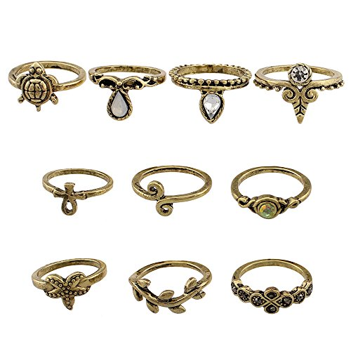 Union Tesco 10Pcs Orientalisches Vintage Midi Ring Midiringe Set,Vintage Fashion Frauen Midi Ring Nagel Finger Band