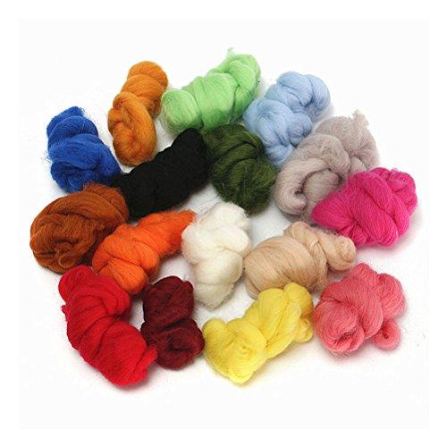 ROSENICE Filzwolle für DIY Nassfilzen Trockenfilzen Handwerke 36 Farben