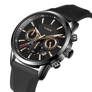 Herren-Armbanduhr-Klassische-Wasserdichte-analoge-Quarz-Sportuhren-fr-Herren-Chronograph-Silikonband