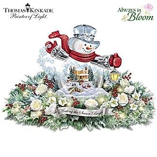 The-Bradford-Exchange-Die-Weihnachtszeit-naht-Immergrne-beleuchtete-Tischblumendekoration-nach-Einem-Weihnachtsmotiv-von-Thomas-Kinkade