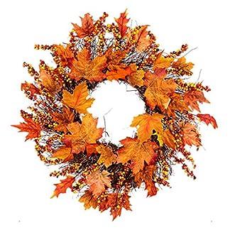 ACMEDE-Weihnachtskranz-Girlande-Herbstkranz-Trkranz-Weihnachtsdeko-Adventskranz-Knstlich-Strohblumen-Deko-fr-Weihnachten-Party