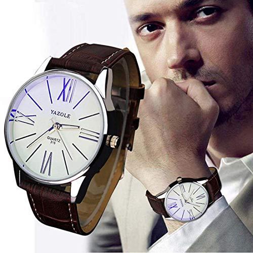 Souarts-Herren-Kunstleder-Armbanduhr-Blaues-Glas-Quartzuhr-Uhr-mit-Batterie-Braun