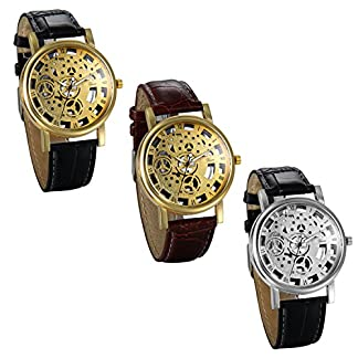 JewelryWe-Herren-Armbanduhr-Retro-Analog-Quarz-Business-Casual-Skelett-Uhr-mit-Leder-Armband-und-Rund-Rmischen-Ziffern-Zifferblatt-3-Modellen