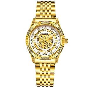 binlun-Damen-18-K-Vergoldet-Luxus-Automatik-Uhr-Skelett-Damen-Kleid-Armbanduhr