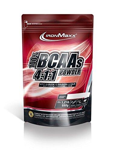 IronMaxx BCAA 4:1:1 / Hochkonzentrierte Aminosäuren für Muskelaufbau und Muskelerhalt / Vitamin B6 / Wenig Kohlenhydrate & Zucker / Cola-Limette-Geschmack / BCAA Pulver / 550g Beutel