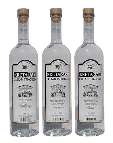 3x-Tsikoudia-Kretaraki-je-700ml-40-Vol-Kreta-Raki-Griechenland-Tresterbrand-Brandwein-Creta-3-Flaschen-Probiersachet-Olivenl-10ml