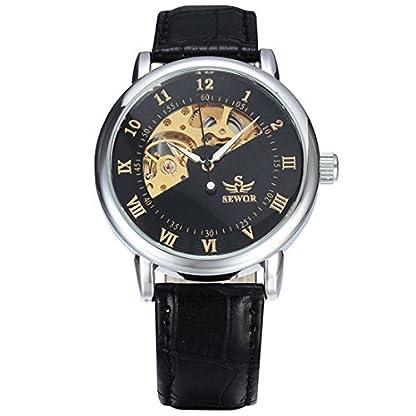 Souarts-Herren-Armbanduhr-Studenten-dekor-Uhr-Hohle-Design-Mechanische-Uhren-Silbe-Farbe-Zifferblatt-Schwarz-Armband