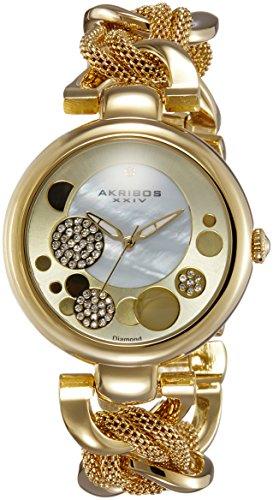 Akribos-XXIV-Damen-Kunstvoller-Lady-Diamond-Mesh-und-Kette-Link-Armband-Armbanduhr