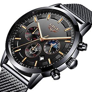 LIGE-Mode-Herren-Uhren-Geschft-Wasserdicht-Simulierter-Quarz-Uhr-Mondphase-Schwarz-Edelstahl-Mesh-Grtel-Armbanduhren