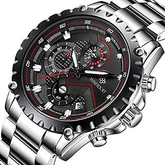 WISHDOIT-Herren-Uhren-Militr-Sport-Wasserdicht-Chronograph-Silber-Edelstahl-Armbanduhr-Mnner-Schwarz-Herrenuhr-Markenuhren-Analog-Quarzuhr