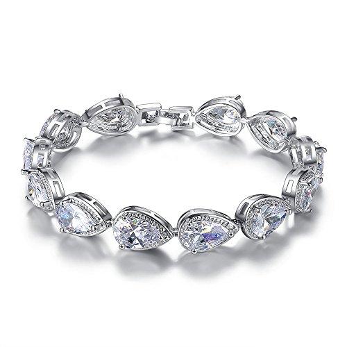 MASOP Weiß Schmuckset Armband Ohrringe Ohrhänger Armkette Tropfen Zirkonia CZ Bling Hochzeitsschmuck für Braut