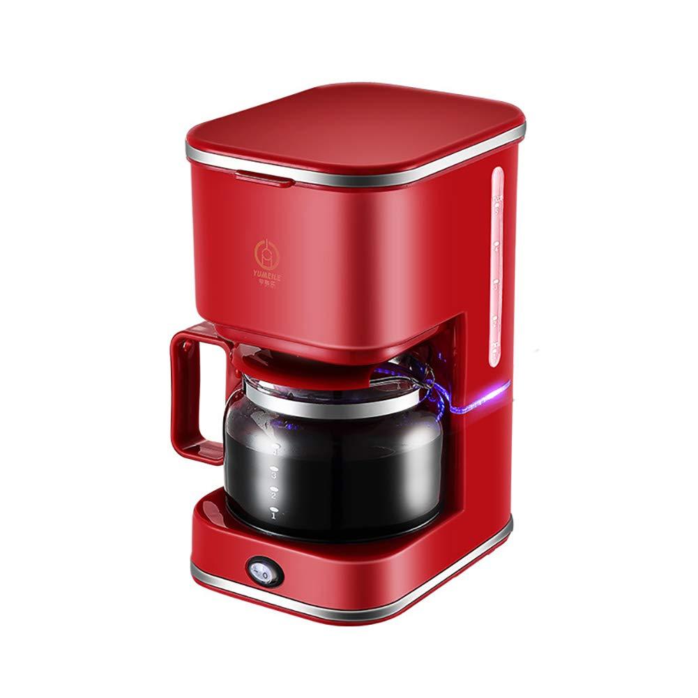 KaffeemaschineEspressomaschineKaffeevollautomatTragbarer-Automatischer-Amerikanischer-Tropf-750ml-5-Tasse-Kaffeetasse-220VGeeignet-Fr-Den-Heimgebrauch-Kaffee-Und-Tee-RosaRot
