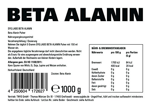 Syglabs Nutrition Beta Alanin Pulver, 1er Pack (1 x 1 kg)