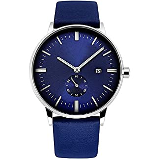 Herren-Fashion-Handgelenk-Uhren-mit-Blau-Echtes-Leder-wasserdicht-stilvolle-Armbanduhr-Analog-Quarz-mit-Kalender-Datum-Fenster-Classic-Business-Casual-Kleid-Uhren-fr-Gents-Herren-von-rsvom