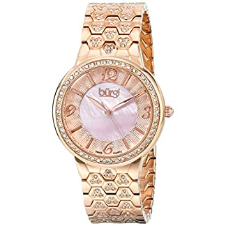 Burgi-Damen-Luxus-Analog-Display-Swiss-Quarz-Uhr-mit-Metall-Armband