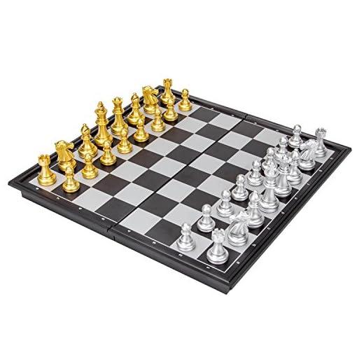 LAOYE-Schachspiel-magnetisches-Schach-Set-fr-Kinder-klappbares-Schachbrett-Chessfiguren-in-goldener-silberner-Farbe-leicht-geeignet-fr-Reisen-Camping-Zugfahrt-unterwegs-etc-25-x-25-cm
