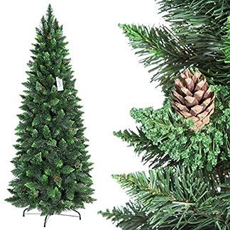 FairyTrees-knstlicher-Weihnachtsbaum-Slim-Kiefer-Natur-Grn-Material-PVC-echte-Tannenzapfen-inkl-Metallstnder-FT08
