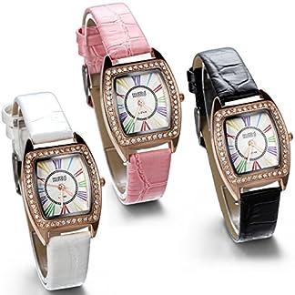 JewelryWe-Damen-Armbanduhr-Analog-Quarz-Fashion-Casual-Leder-Armband-Uhr-mit-Strass-farbigen-Rmischen-Ziffern-Zifferblatt-Pink-Schwarz-Weiss