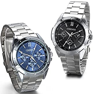 JewelryWe-Herren-Armbanduhr-Business-Casual-Analog-Quarz-Uhr-mit-Edelstahl-Armband-Blau-Schwarz-Weiss-Zifferblatt