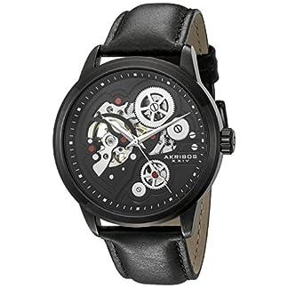 Akribos-XXIV-Herren-Analog-Handaufzug-Uhr-mit-Leder-Armband-AK855BK
