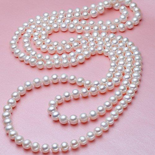 Merida-elegante Dame Weiße künstliche Perlen-Halsketten -lange Strickjacke-Perlen-Ketten-Halskette