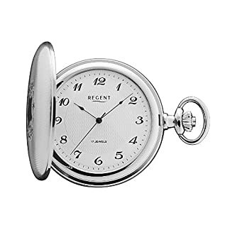 Regent-Taschenuhr-Mechanisch-Silber-Arabisch-P10