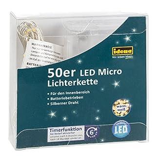 Idena-31825-LED-Micro-Lichterkette-mit-50-LED-in-warm-wei-mit-6-Stunden-Timer-Funktion-Batterie-betrieben-fr-Partys-Weihnachten-Deko-Hochzeit-als-Stimmungslicht-ca-52-m