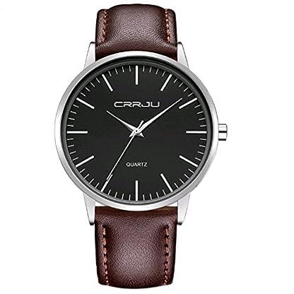 Mens-analoge-Quarz-klassische-Armbanduhr-beilufige-Art-Kratzer-bestndig-Gesicht-Braunes-Leder-Uhrenarmband