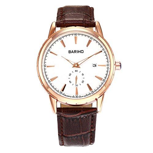 iLove-EU-Herren-Damen-Armbanduhr-Analog-Quarz-30M-Wasserdicht-Partner-Uhr-Modisch-Zeitloses-Design-mit-Leder-Armband-Braun