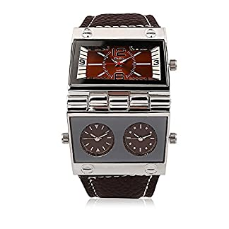 iLove-EU-Herren-Armbanduhr-Japanisches-Quarz-Analog-mehrere-Zeitzonen-Outdoor-Freizeit-Uhr-mit-Kaffee-Zifferblatt-und-Leder-Armband