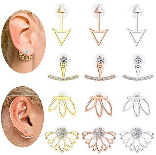 Milacolato 12Pairs Ohrring Jacke CZ Stud Lotus Blume Ohrringe Set Für Frauen Mädchen