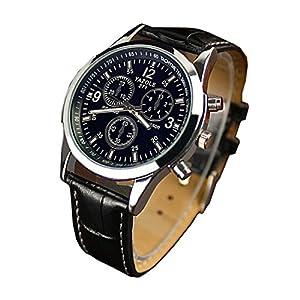 Chianrliu-Luxus-Mode-Kunstleder-Herren-Blue-Ray-Glas-Quartz-Analog-Uhren-Schwarz
