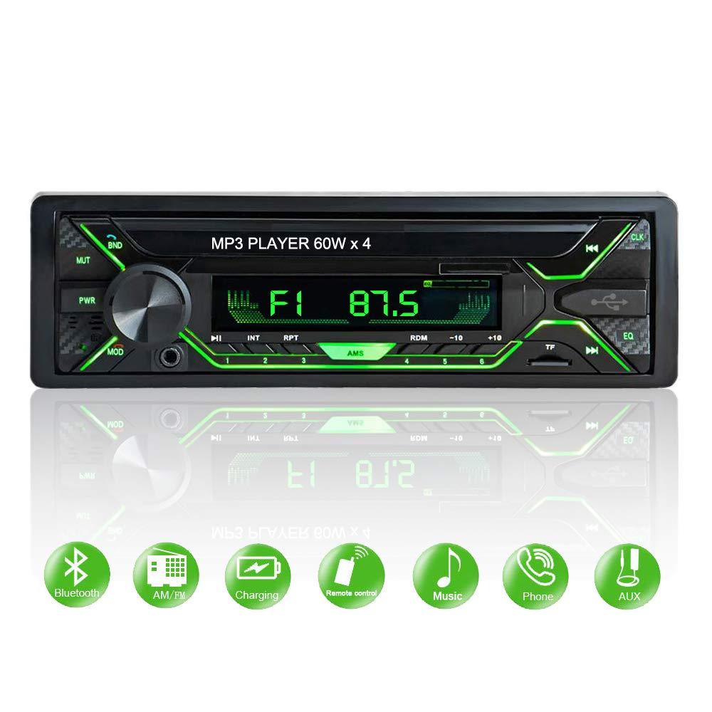 Aigoss-Autoradio-mit-Bluetooth-Freisprecheinrichtung-1-Din-Universal-60w-x-4-Radio-FMBTUSBTFSD-MP3-Media-Player-Drahtlose-Fernbedienung-Enthalten-mit-5-Beleuchtungsfarben