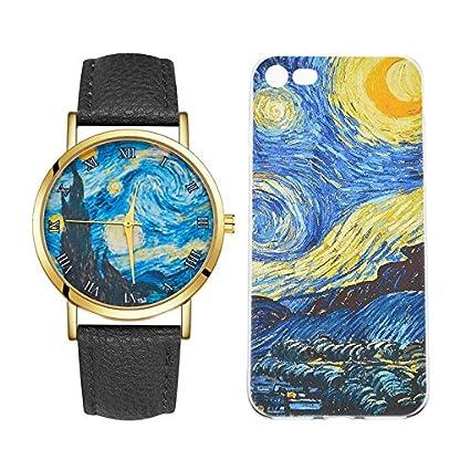 Godagoda-Unisex-Armbanduhr-Leder-Sternhimmel-Muster-Druck-Deko-Wasserdicht-Quarzuhr-Paaruhr-Geschenke-fr-Damen-Herren-mit-Handyhlle