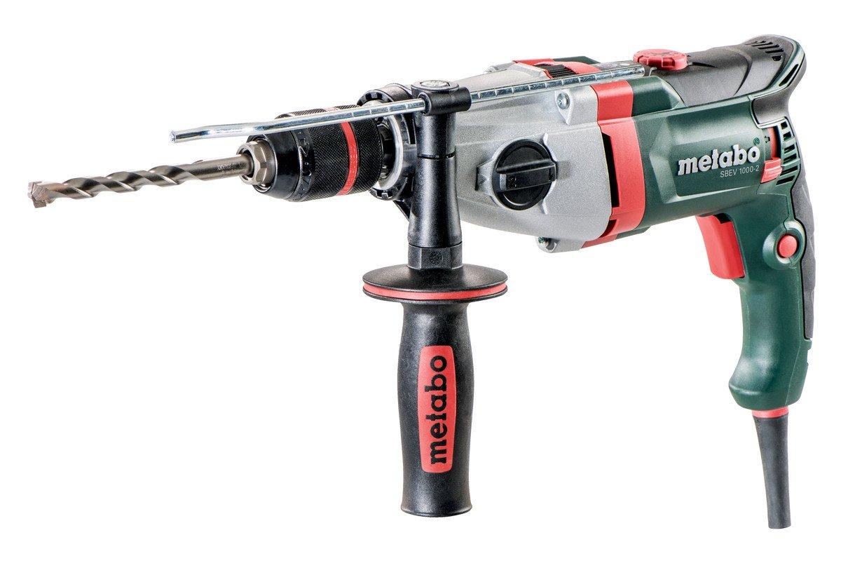 Metabo-Schlagbohrmaschine-SBEV-1000-2-1010-W-Bohr–Beton-20-mm-Schnellspannbohrfutter-13-mm-Tiefenanschlag-Zusatzhandgriff-Sicherheitskupplung-Koffer