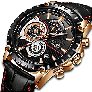 LIGE-Uhren-Herren-Wasserdicht-Sport-Militr-Quarzuhr-Chronograph-Kalender-Lederband-Armbanduhren