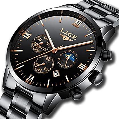 Herrenuhren-LIGE-Edelstahl-Schwarz-Klassische-Luxus-Business-Casual-Uhren-mit-Mondphase-wasserdichte-Multifunktions-Quarz-Armbanduhr-fr-Herren